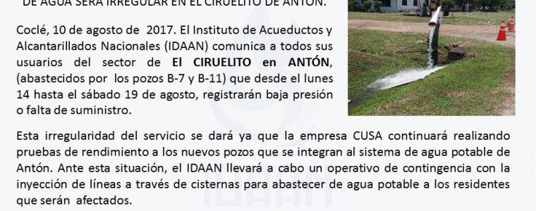 DEL LUNES 14 AL SÁBADO 19 DE AGOSTO SUMINISTRO  DE AGUA SERÁ IRREGULAR EN EL CIRUELITO DE ANTÓN.