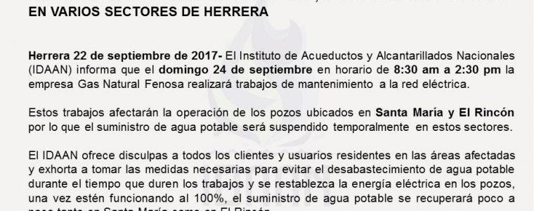 POR TRABAJOS DE GAS NATURAL FENOSA, SUMINISTRO SE AFECTARÁ EN VARIOS SECTORES DE HERRERA