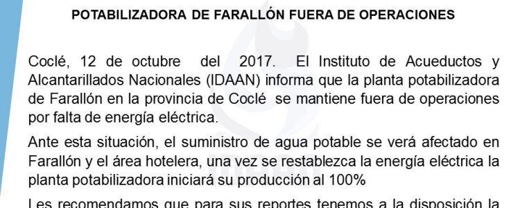 POTABILIZADORA DE FARALLÓN FUERA DE OPERACIONES