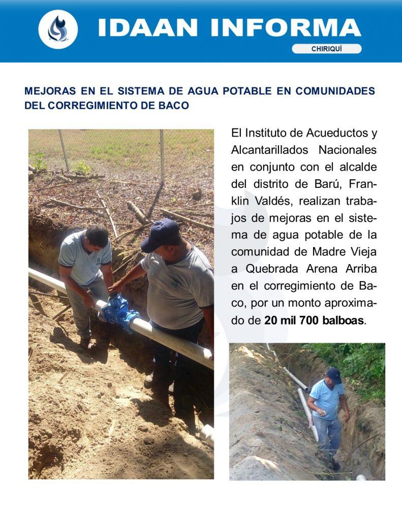 Mejoras en el sistema de agua potable en las comunidades del corregimiento de Baco