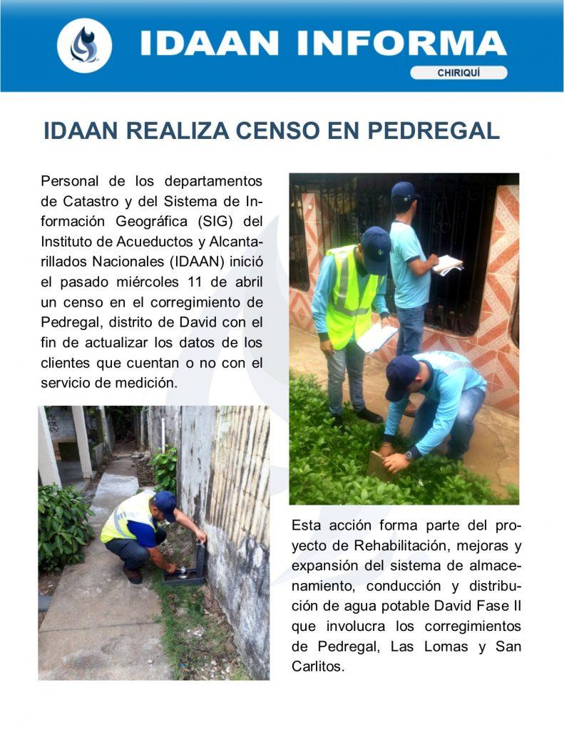 IDAAN realiza censo en Pedregal