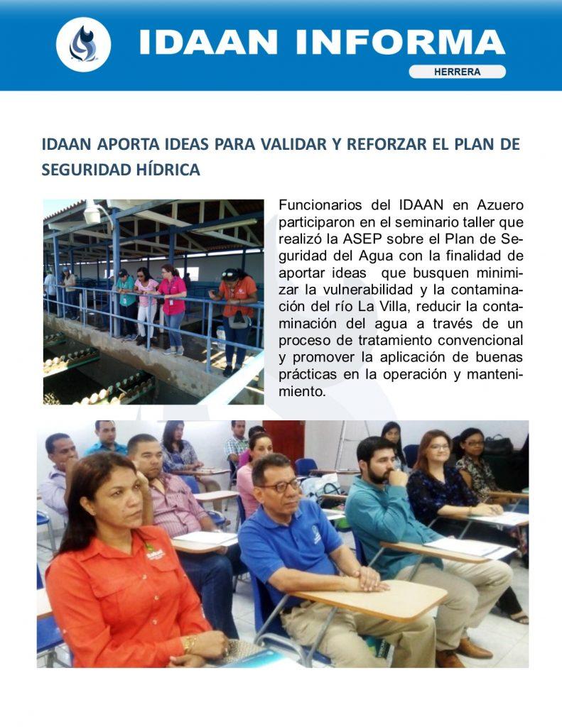 IDAAN aporta ideas para validar y reforzar el plan de seguridad hídrica