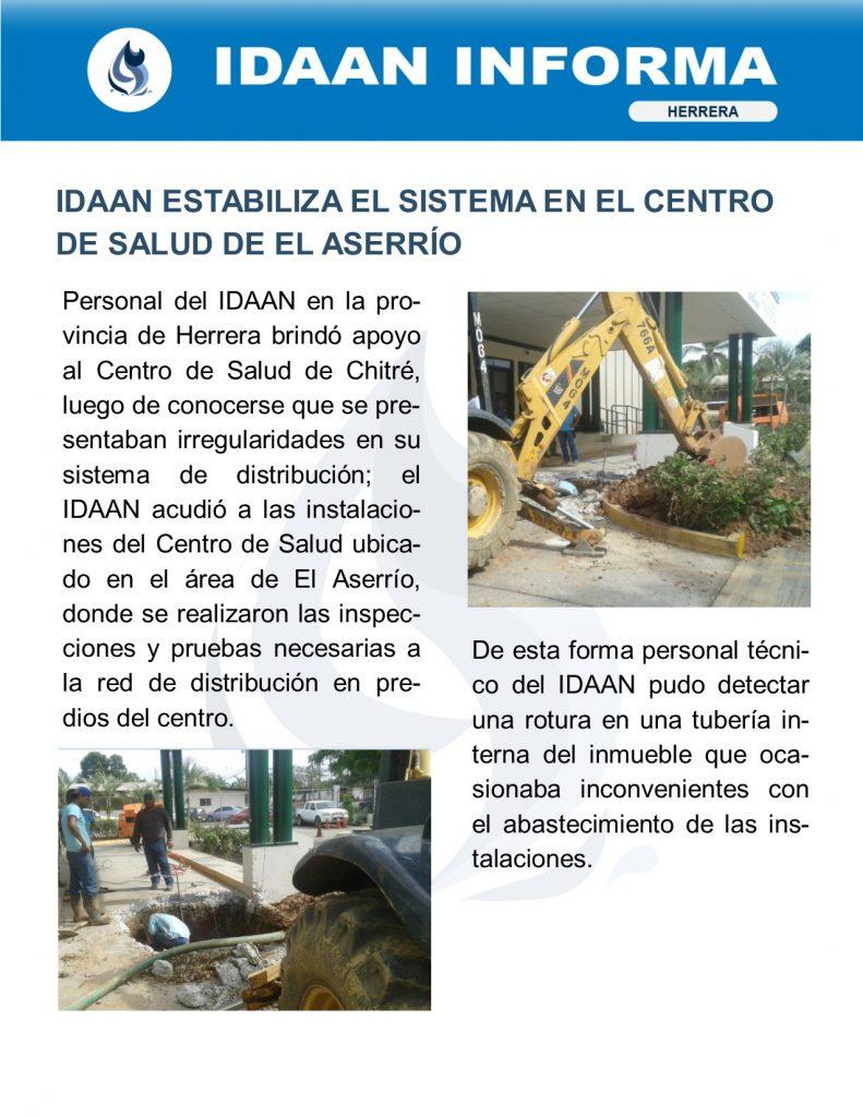 IDAAN estabiliza el sistema en el centro de salud de El Aserrío