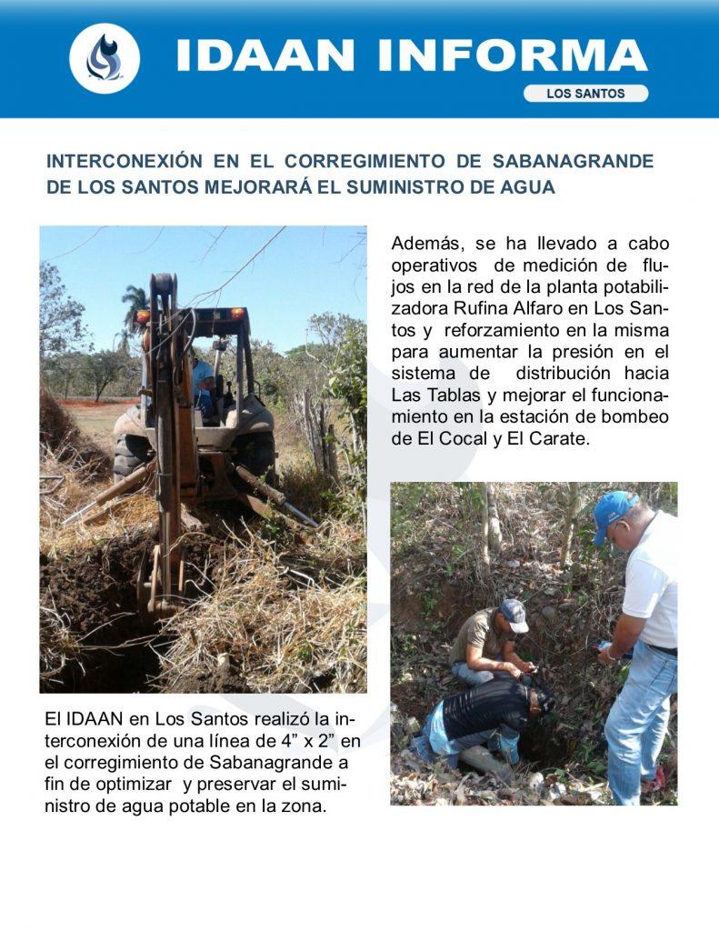 Interconexión en el corregimiento de Sabanagrande de Los Santos mejorará el suministro de agua