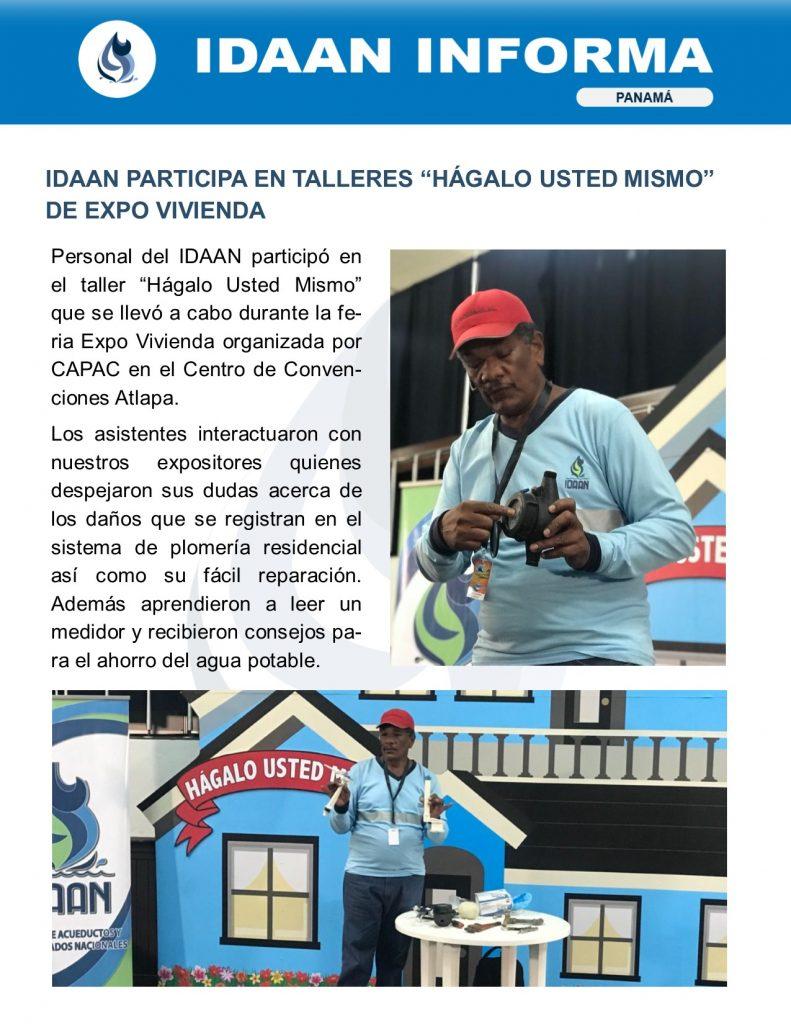 """IDAAN participa en talleres """"Hágalo Usted Mismo"""" de Expo Vivienda"""