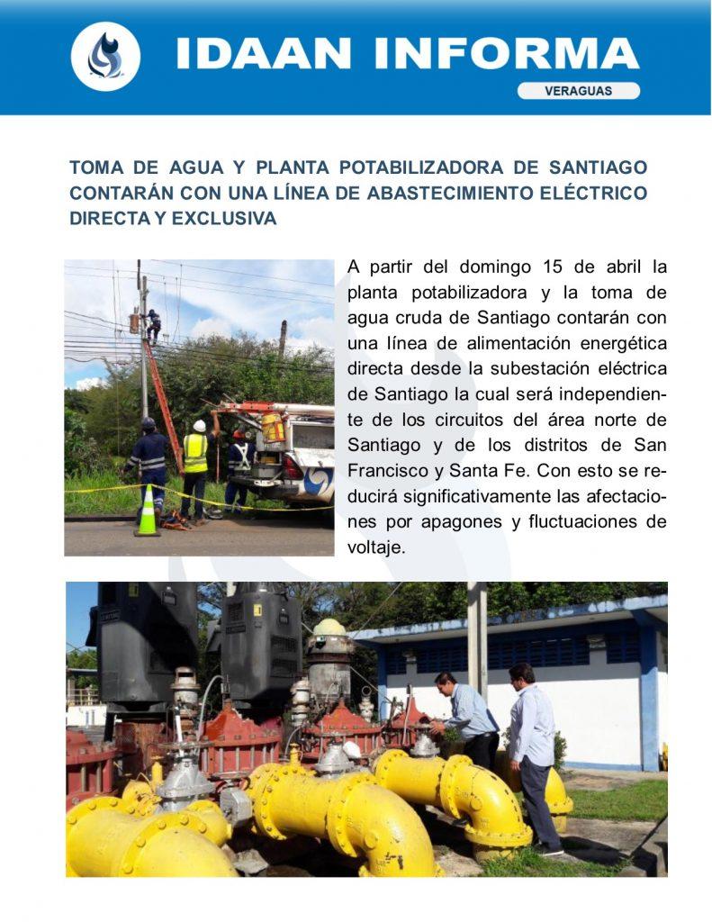 Toma de agua y planta potabilizadora de Santiago contarán con una línea de abastecimiento eléctrico directa y exclusiva