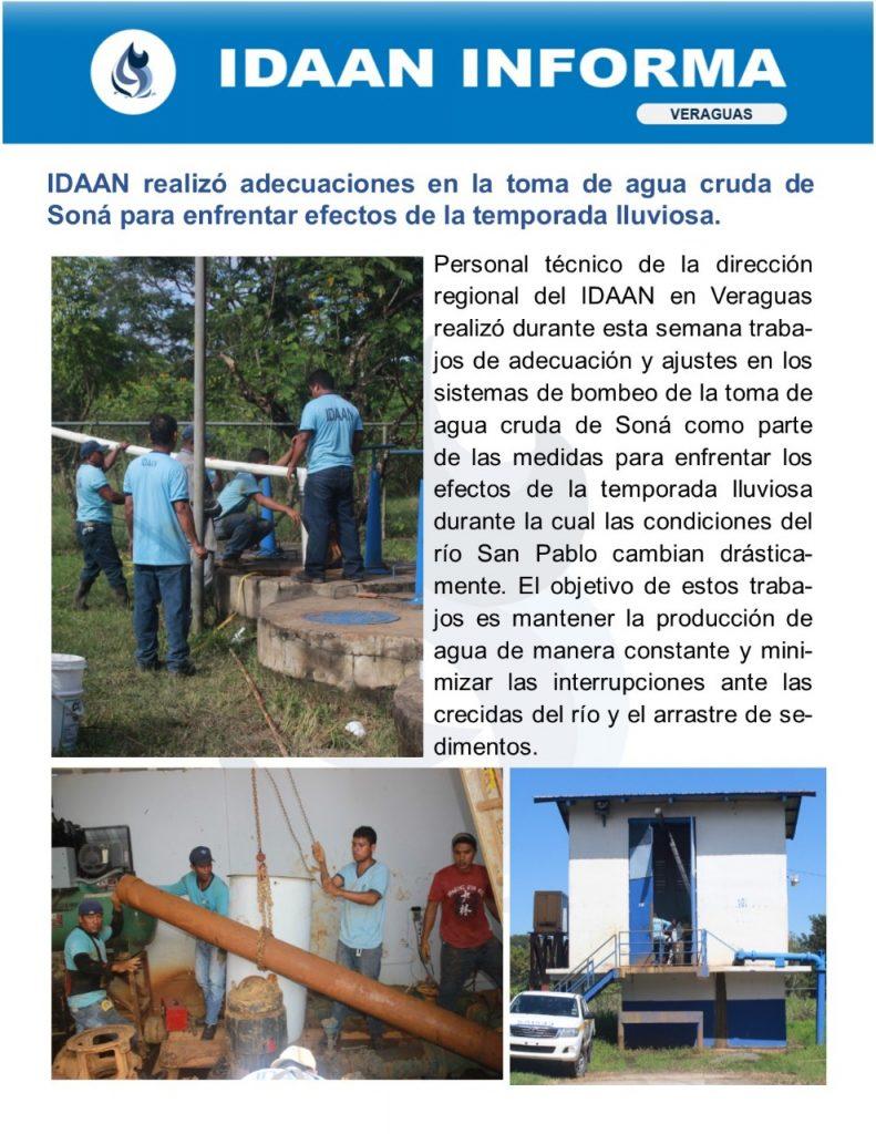 IDAAN realizó adecuaciones en la toma de agua cruda de Soná para enfrentar efectos de la temporada lluviosa
