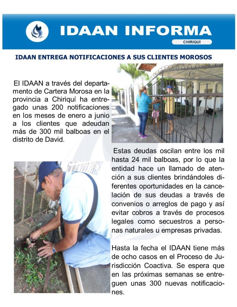 IDAAN entrega notificaciones a sus clientes morosos