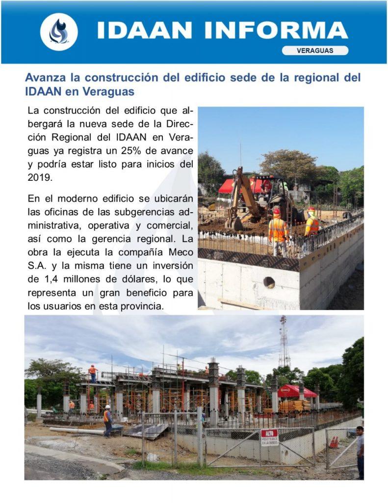 Avanza la construcción del edificio sede de la regional del IDAAN en Veraguas