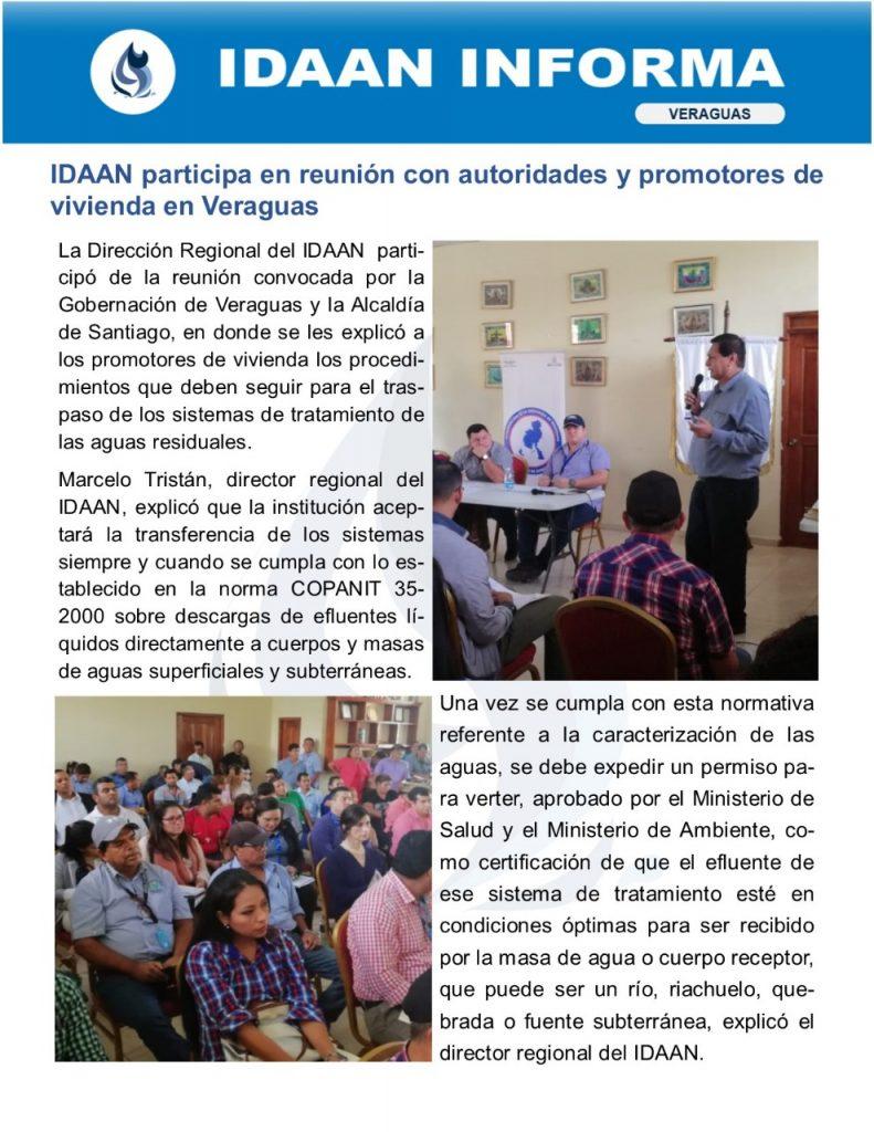 IDAAN participa en reunión con autoridades y promotores de viviendas en Veraguas