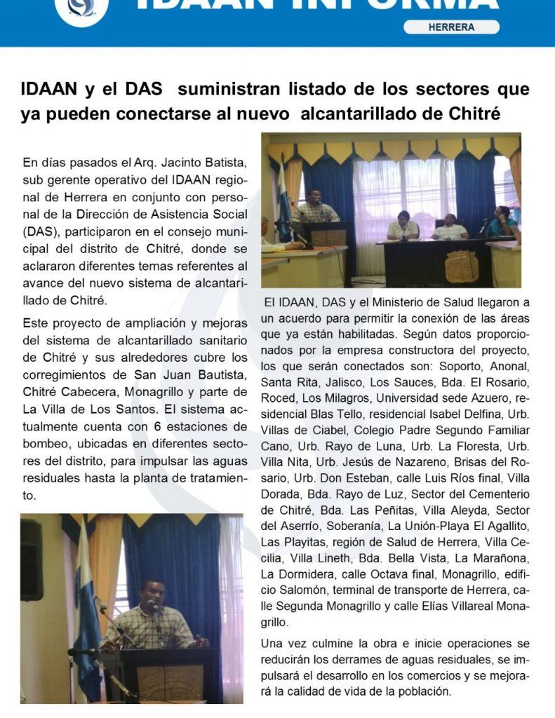 IDAAN y el DAS suministran listado de los sectores que ya pueden conectarse al nuevo alcantarillado de Chitré