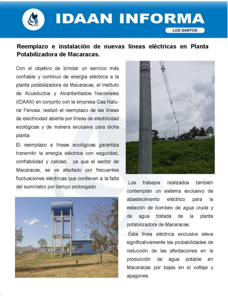 Reemplazo e instalación de nuevas líneas eléctricas en Planta Potabilizadora de Macaracas