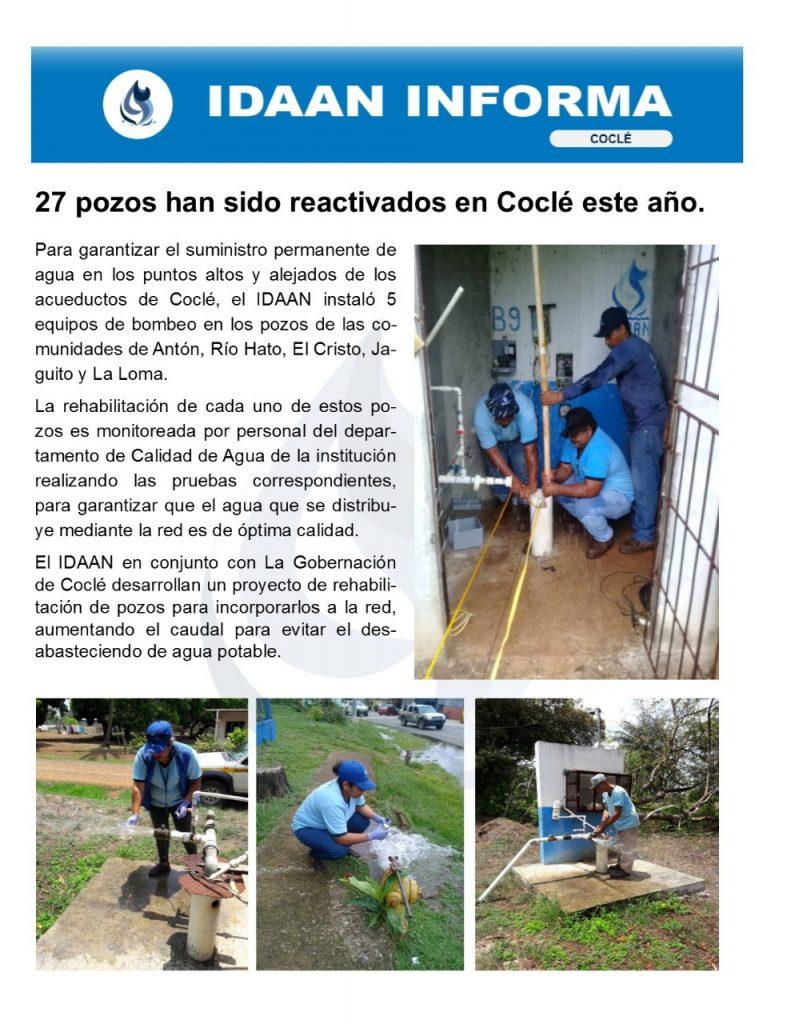 27 pozos han sido reactivados en Coclé este año