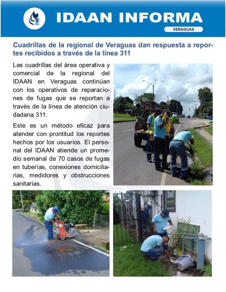 Cuadrillas de la regional de Veraguas dan respuesta a reportes recibidos a través de la línea 311