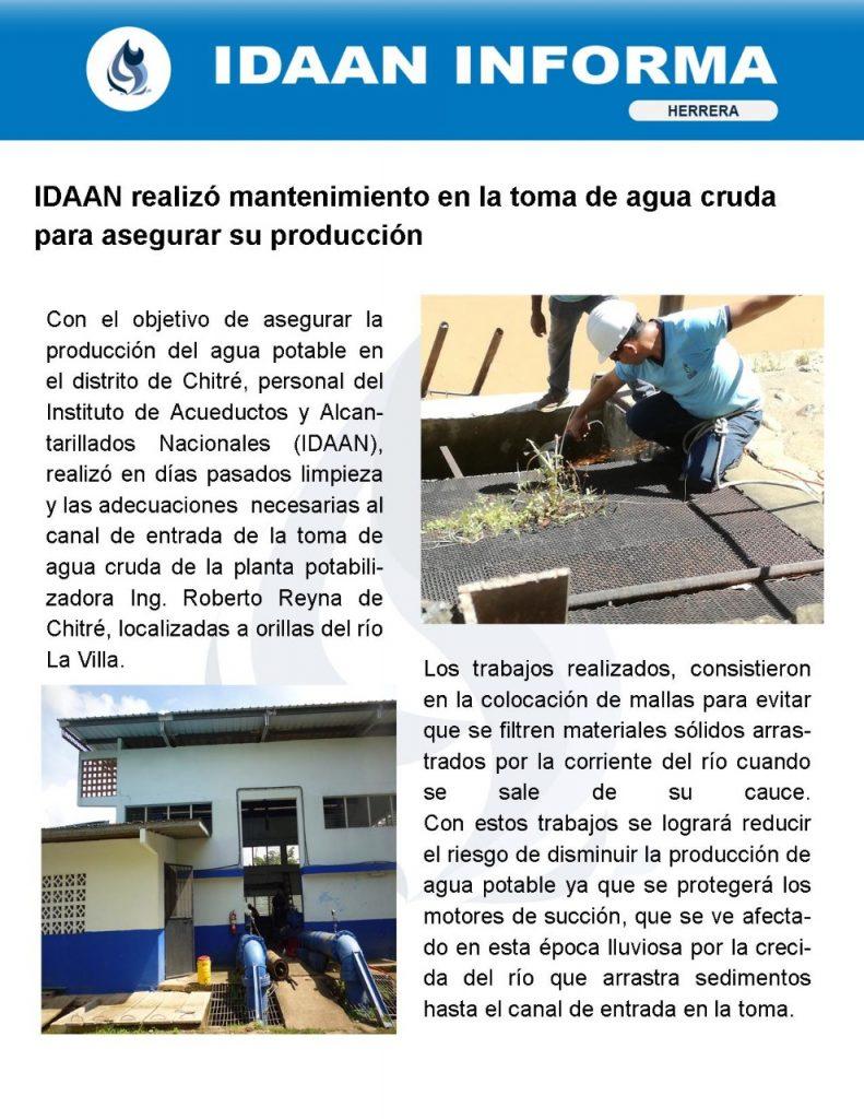 IDAAN realizó mantenimiento preventivo en la toma de agua cruda