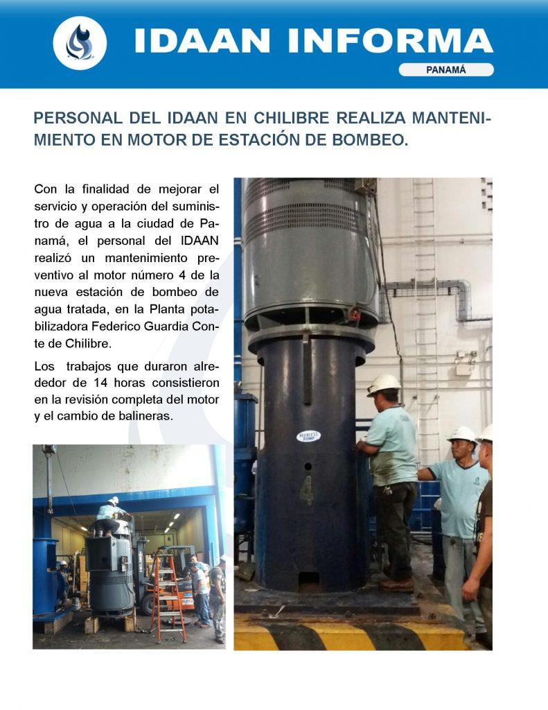 Personal del IDAAN en Chilibre realiza mantenimiento en motor de estación de bombeo