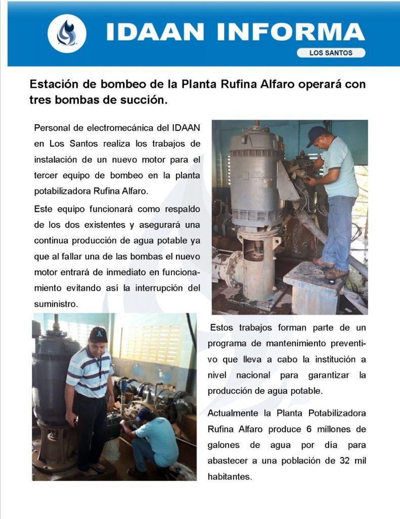Estación de bombeo de la Planta Rufina Alfaro operará con tres bombas de succión