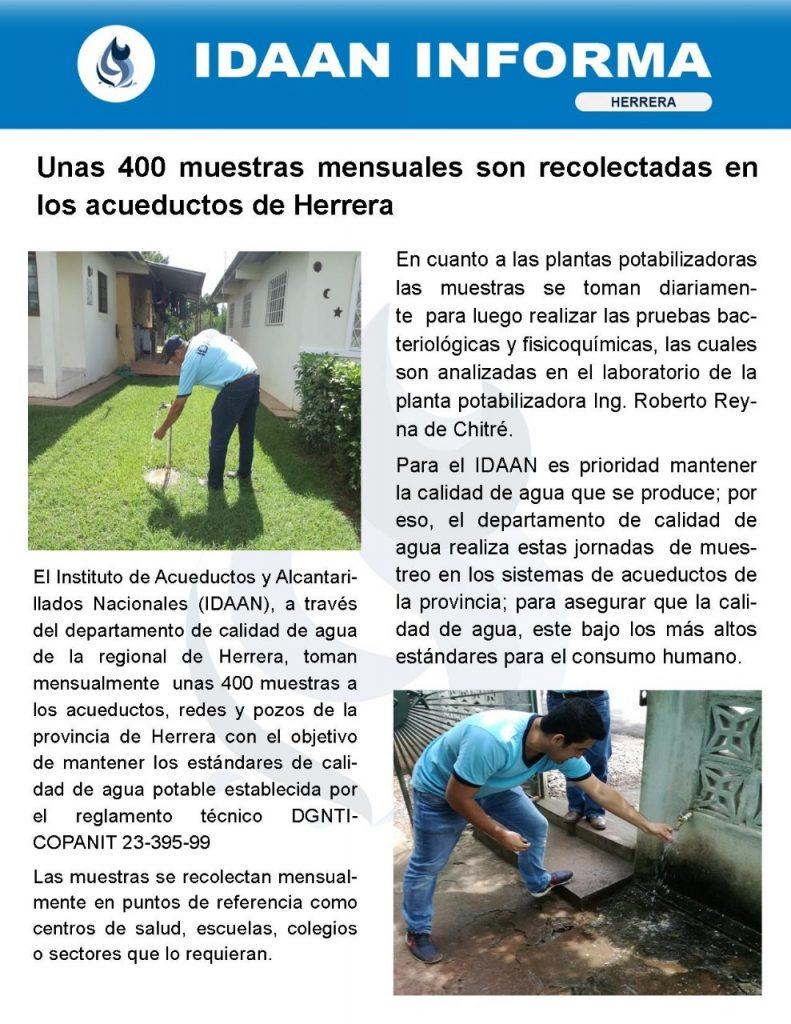 Unas 400 muestras mensuales son recolectadas en los acueductos de Herrera