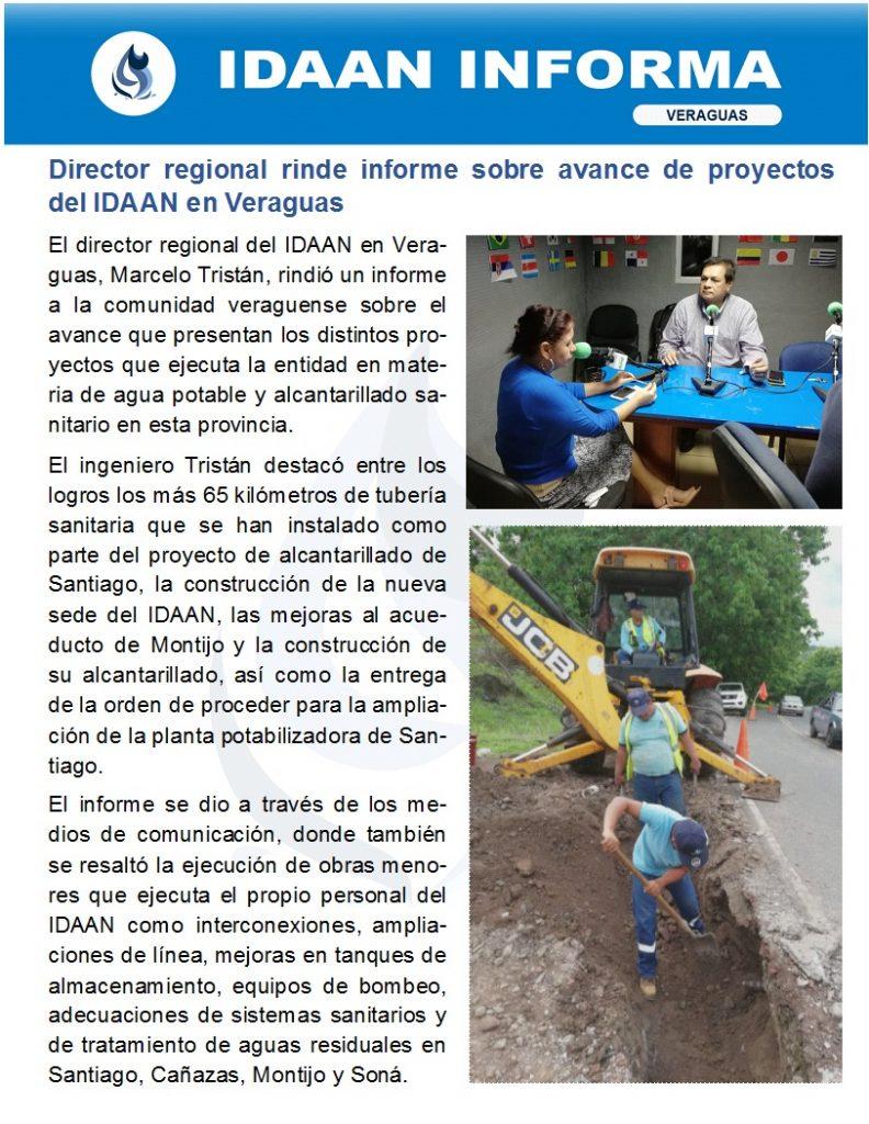 Director regional rinde informe sobre avance de proyectos del IDAAN en Veraguas