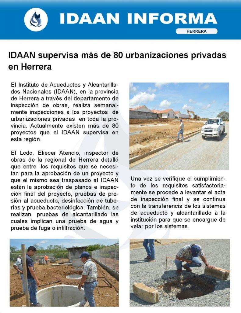 IDAAN supervisa más de 80 urbanizaciones privadas en Herrera