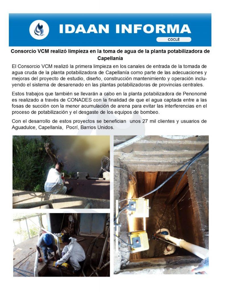 Consorcio VCM realizó limpieza en la toma de agua de la planta potabilizadora de Capellanía