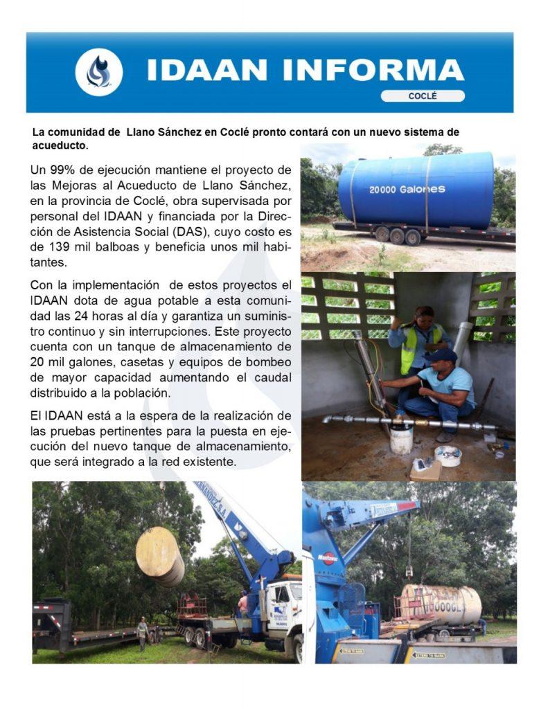 La comunidad de Llano Sánchez en Coclé pronto contará con un nuevo sistema de acueducto