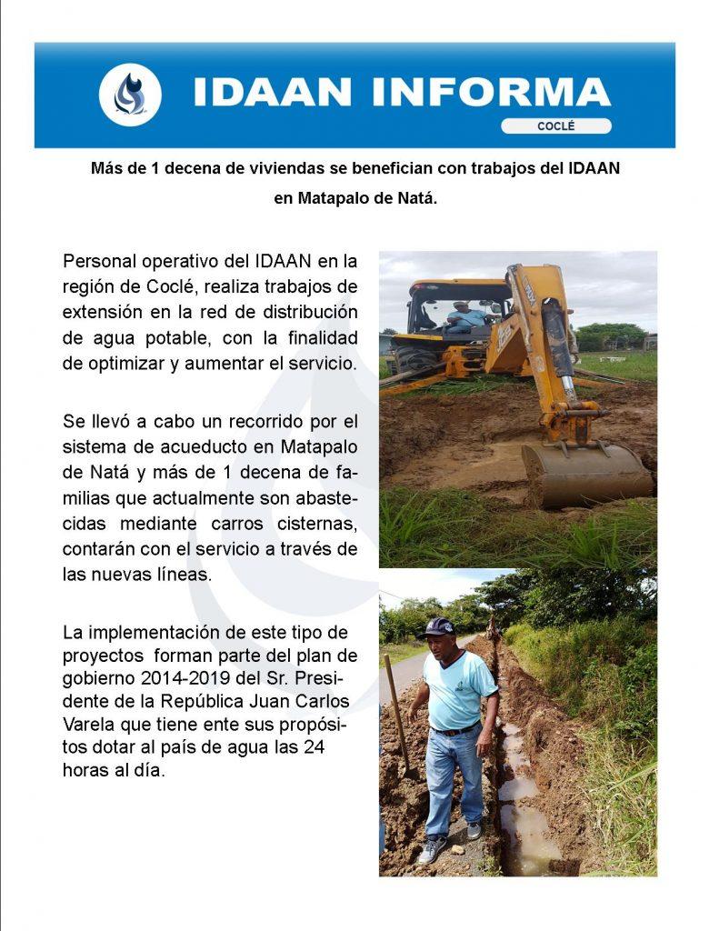 Más de 1 decena de viviendas se benefician con trabajos del IDAAN en Matapalo de Natá