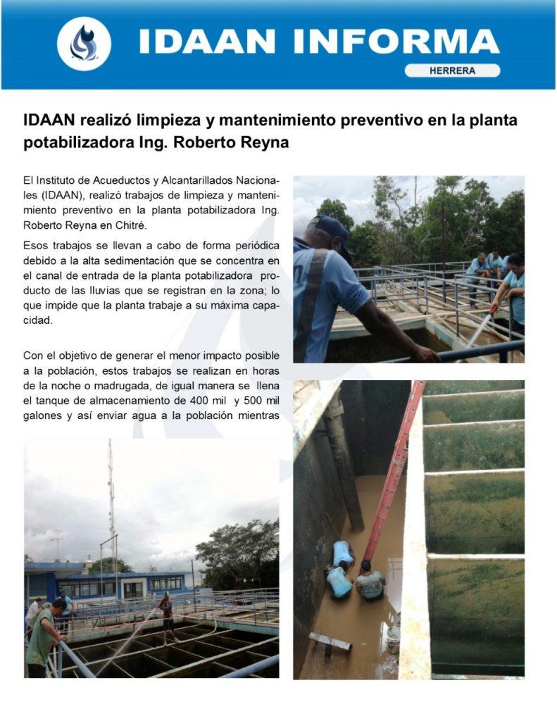 IDAAN realizó limpieza y mantenimiento preventivo en la planta potabilizadora Ing. Roberto Reyna