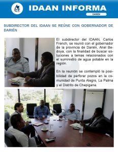 Subdirector del IDAAN se reúne con gobernador de Darién