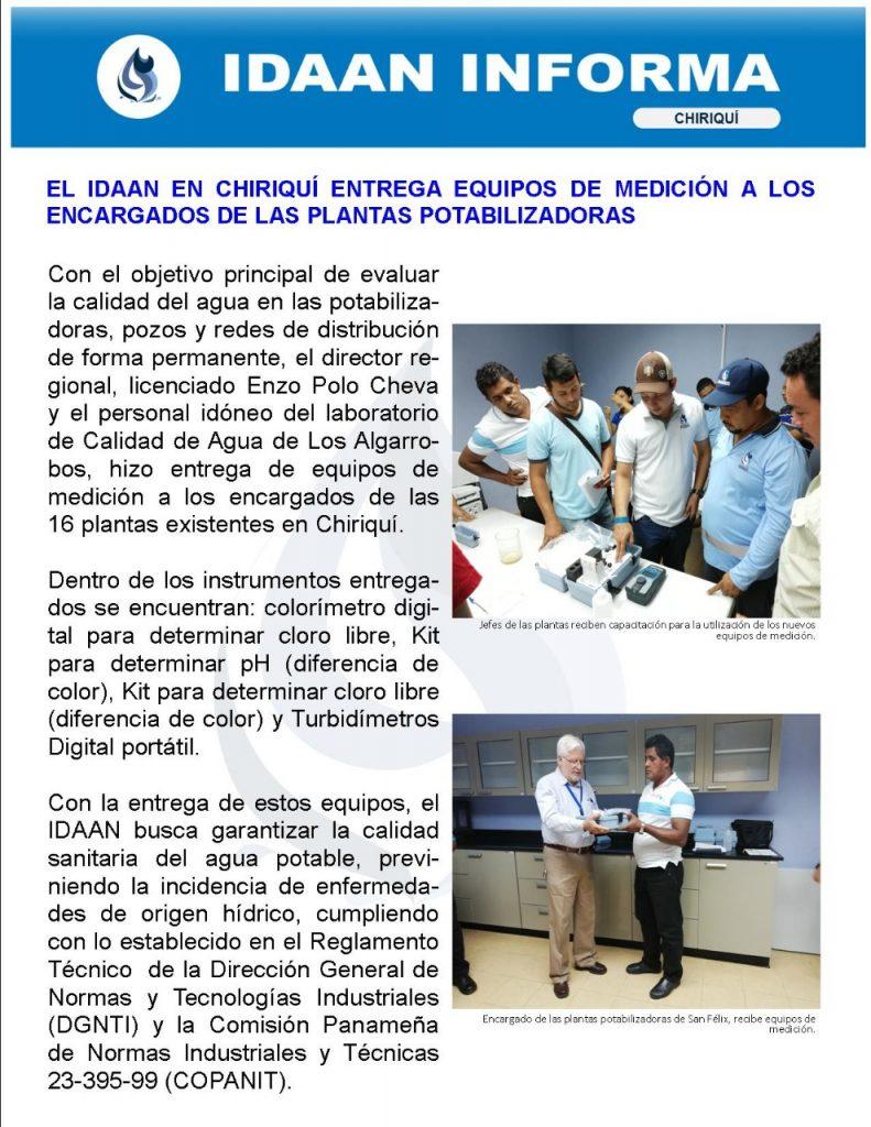 El IDAAN en Chiriquí entrega equipos de medición a los encargados de las plantas potabilizadoras