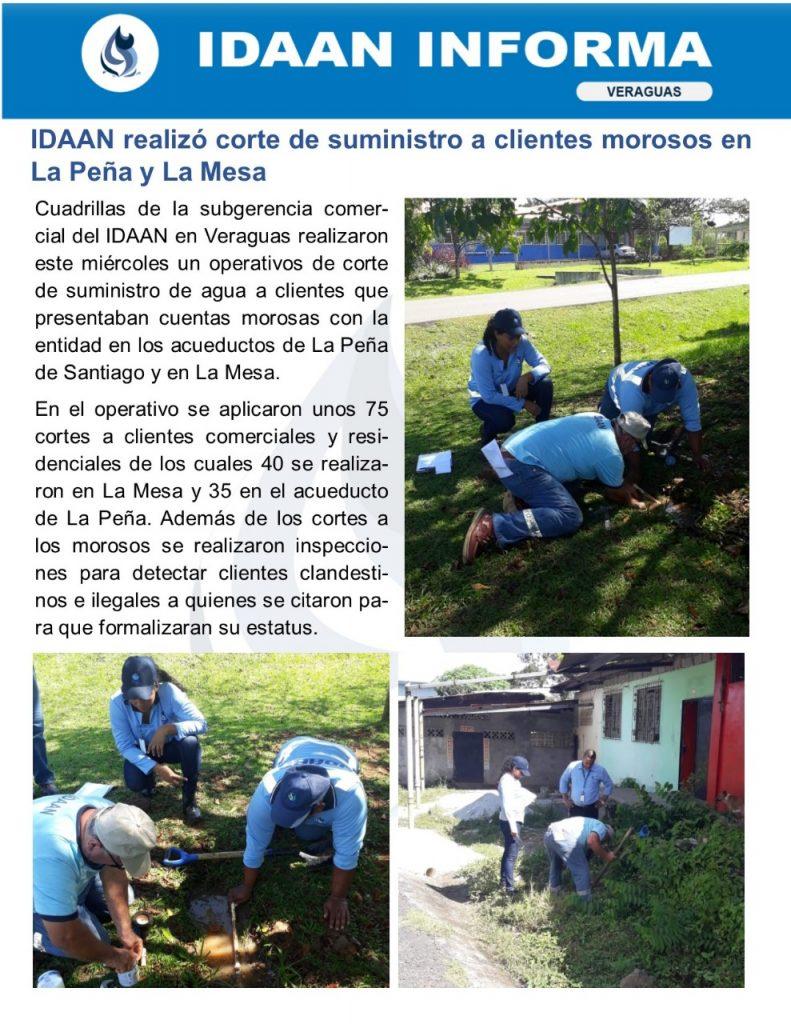 IDAAN realizó corte de suministro a clientes morosos en La Peña y La Mesa