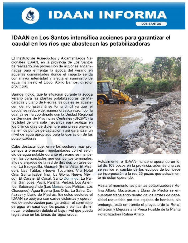 IDAAN en Los Santos intensifica acciones para garantizar el caudal en los ríos que abastecen las potabilizadoras