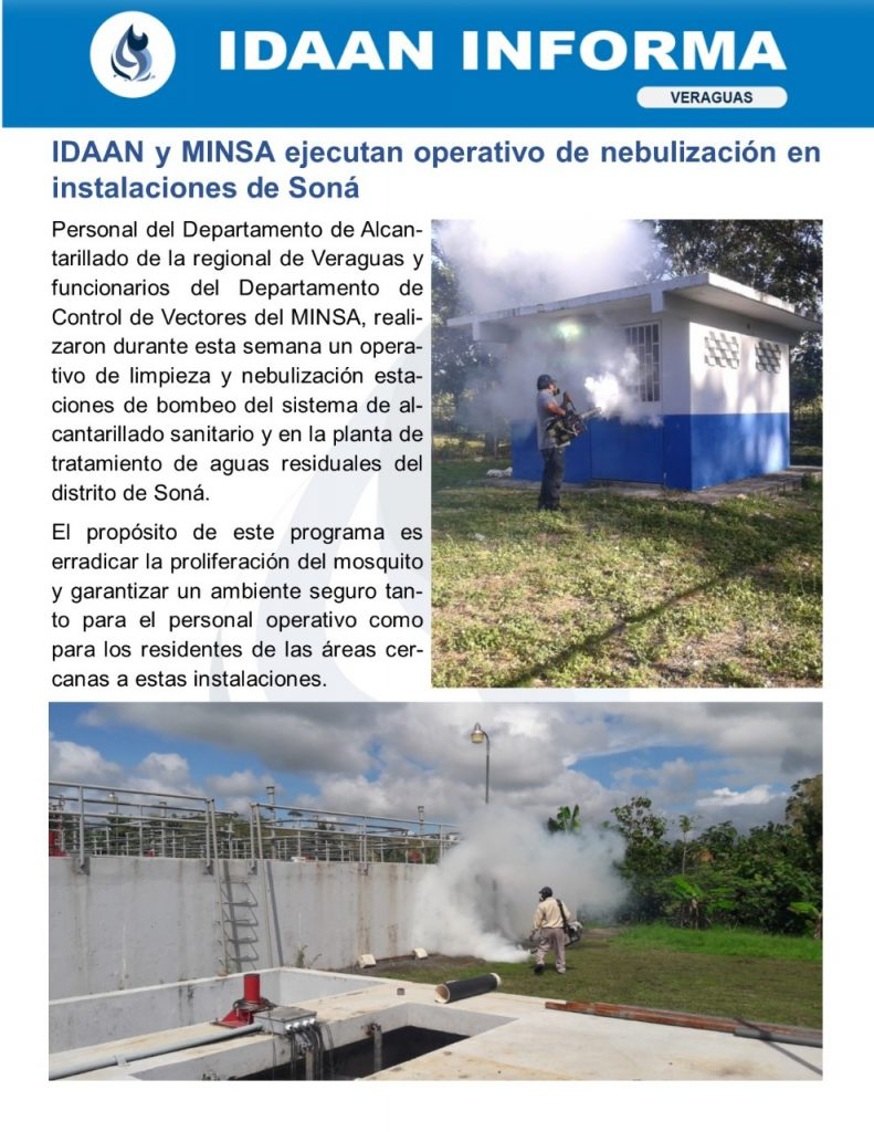 IDAAN y MINSA ejecutan operativo de nebulización en instalaciones de Soná