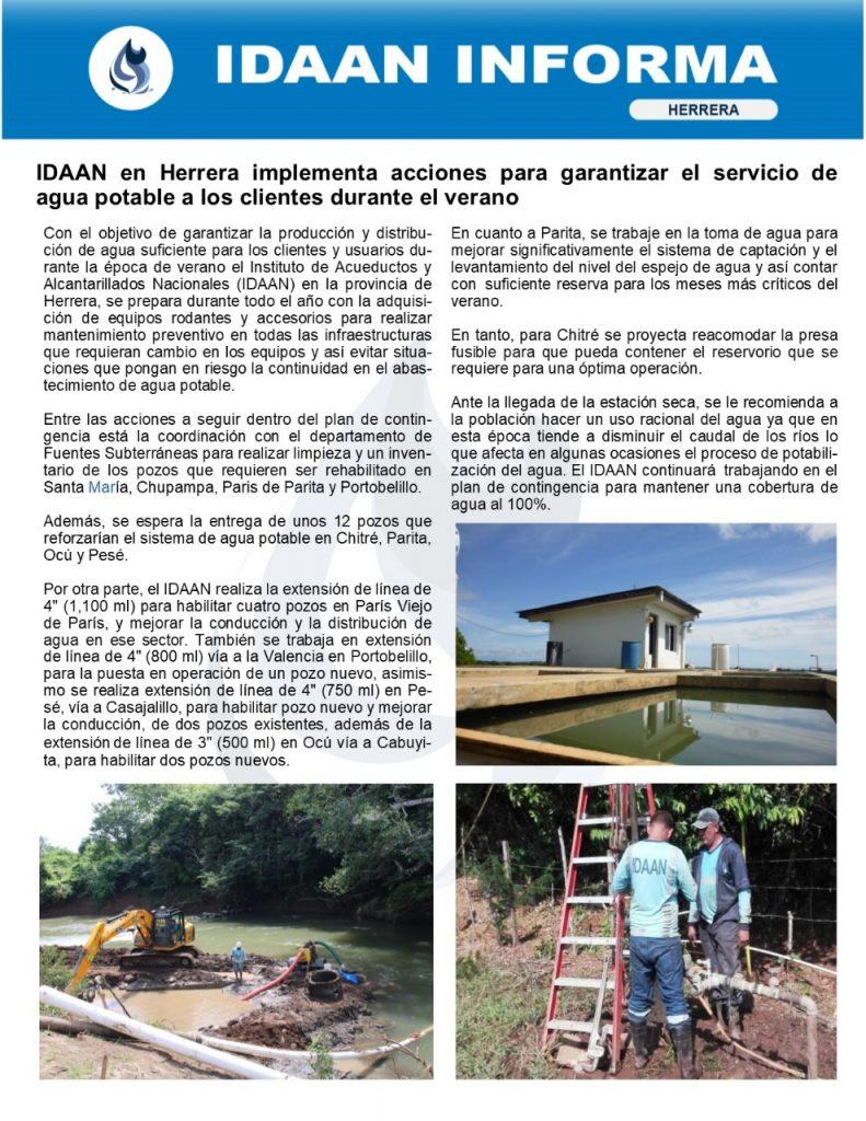 IDAAN en Herrera implementa acciones para garantizar el servicio de agua potable a los clientes durante el verano
