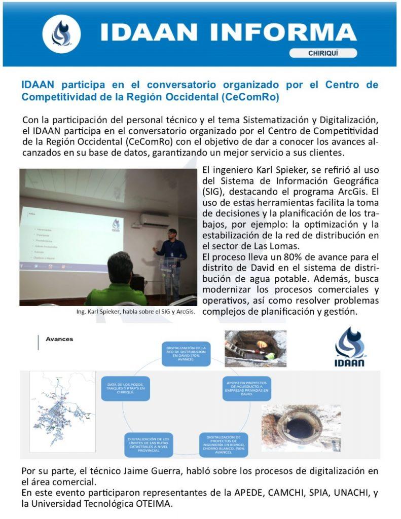 IDAAN participa en el conversatorio organizado por el Centro de Competitividad de la Región Occidental (CeComRo)