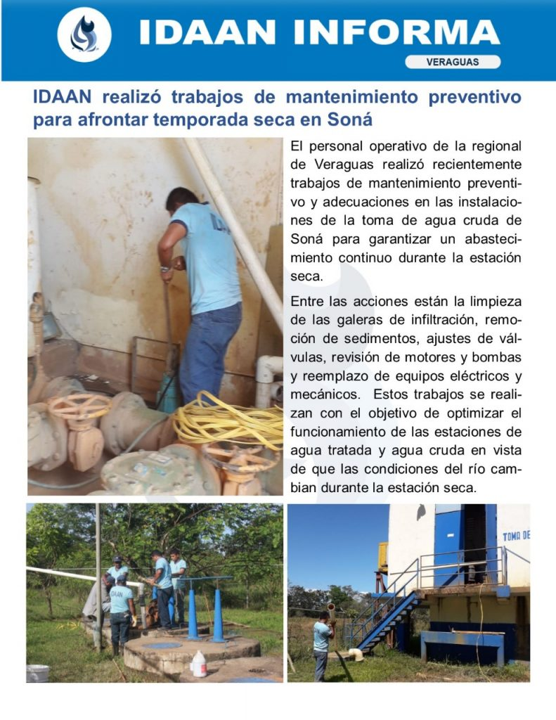IDAAN realizó trabajos de mantenimiento preventivo para afrontar temporada seca en Soná