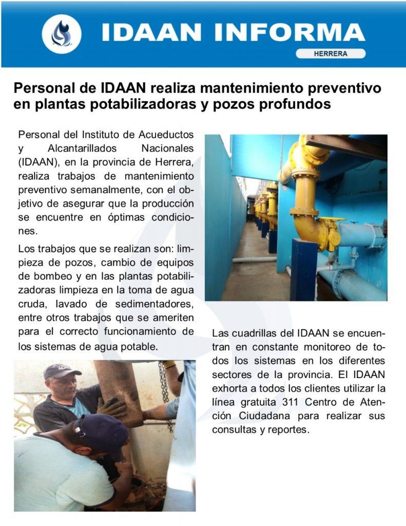 Personal del IDAAN realiza mantenimiento preventivo en plantas potabilizadoras y pozos profundos