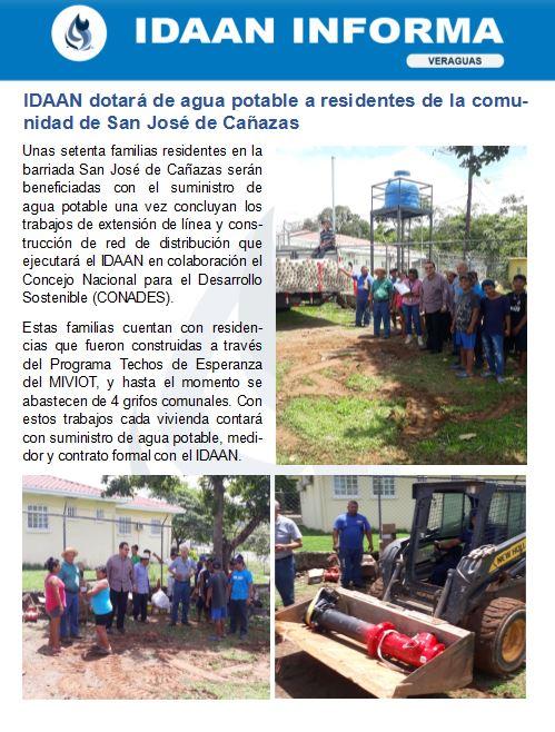 IDAAN dotará de agua potable a residentes de la comunidad de San José de Cañazas