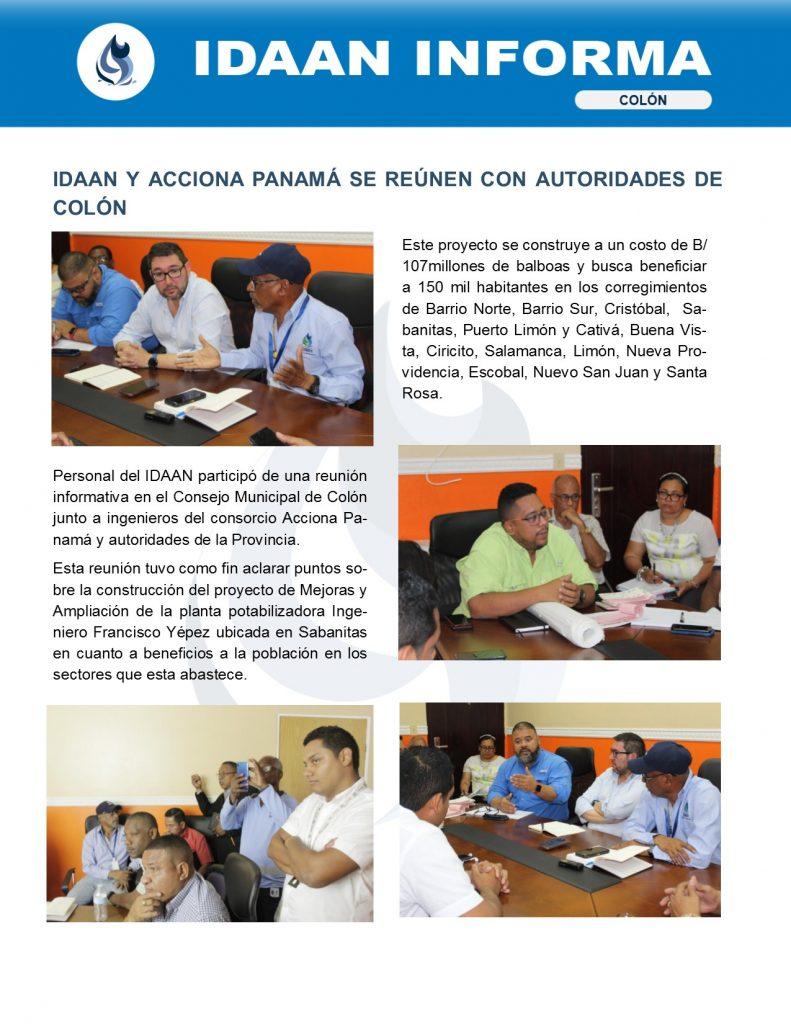 IDAAN y Acciona Panamá se reúnen con autoridades de Colón
