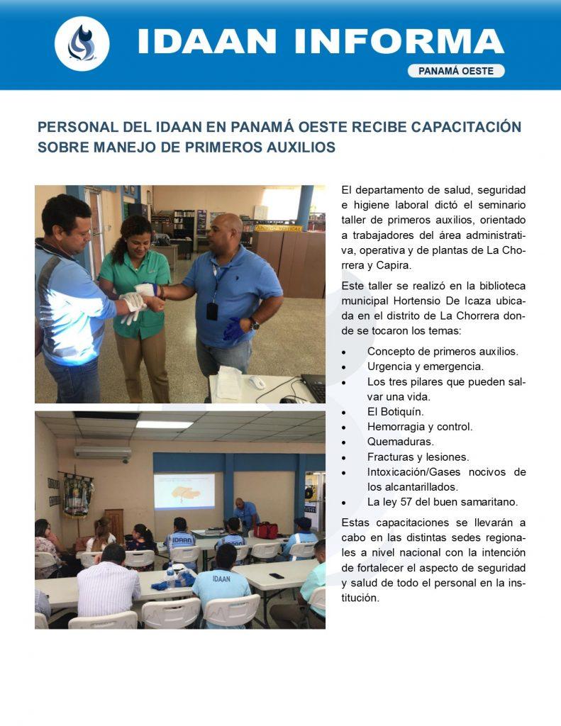 Personal del IDAAN en Panamá Oeste recibe capacitación sobre manejo de primeros auxilios