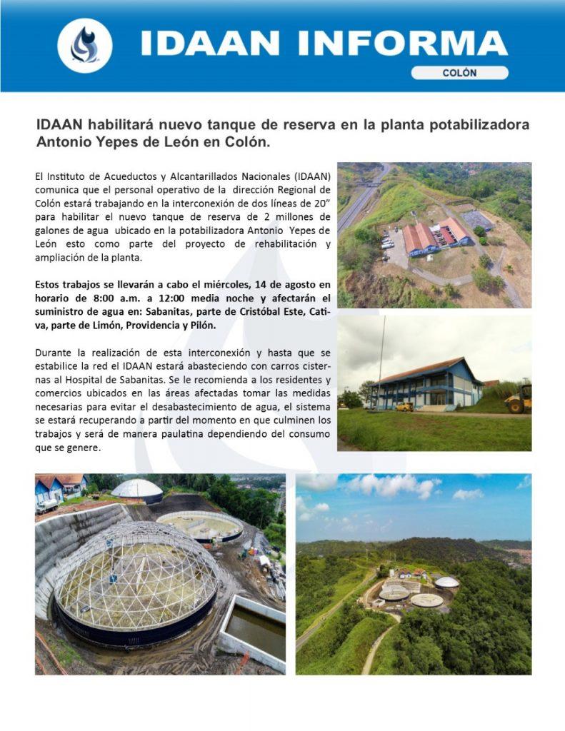 IDAAN habilitará nuevo tanque de reserva en la planta potabilizadora Antonio Yepes de León en Colón