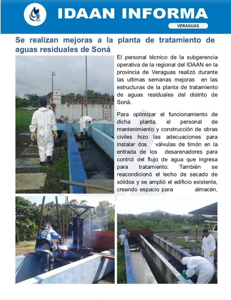 Se realizan mejoras a la planta de tratamiento de aguas residuales de Soná