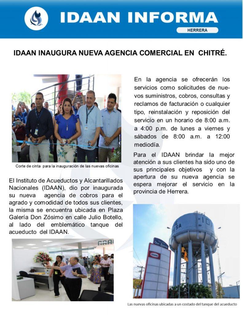 IDAAN inaugura nueva agencia comercial en Chitré
