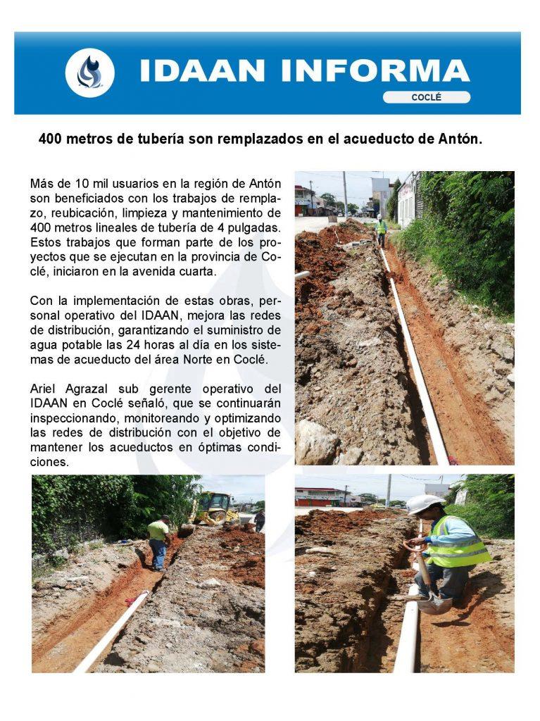 400 metros de tubería son remplazados en el acueducto de Antón