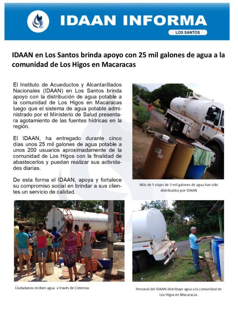 IDAAN en Los Santos brinda apoyo con 25 mil galones de agua a la comunidad de Los Higos en Macaracas